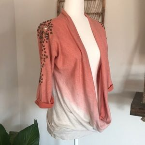 Daytrip draped front ombré sweater with studs
